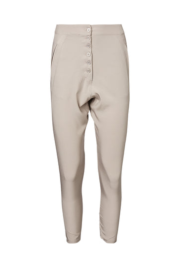 SILK LOW RISE BUTTON PANT, Center Buttons, Low Rise, Color Oyster