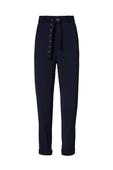 VISCOSE EYELET TROUSER, NAVY color