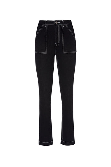 PATCH POCKET JEAN, high waist, center zip fastening, patch pockets at front, slim fit, falls just above ankle, color black