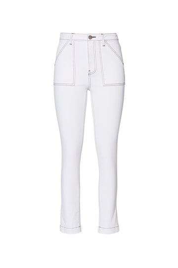 PATCH POCKET JEAN, high waist, center zip fastening, patch pockets at front, slim fit, falls just above ankle, color white