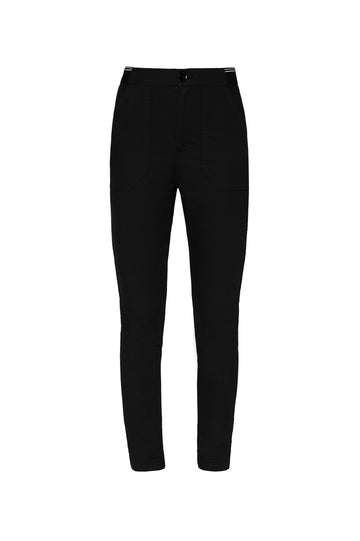 PATCH POCKET LOW RISE TROUSER, slim low rise, falls just above ankle, Black color