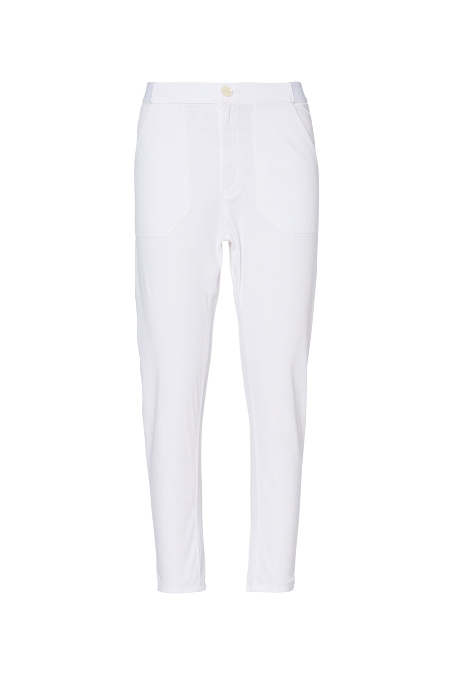 PATCH POCKET LOW RISE TROUSER WHITE, loose fit, WHITE color
