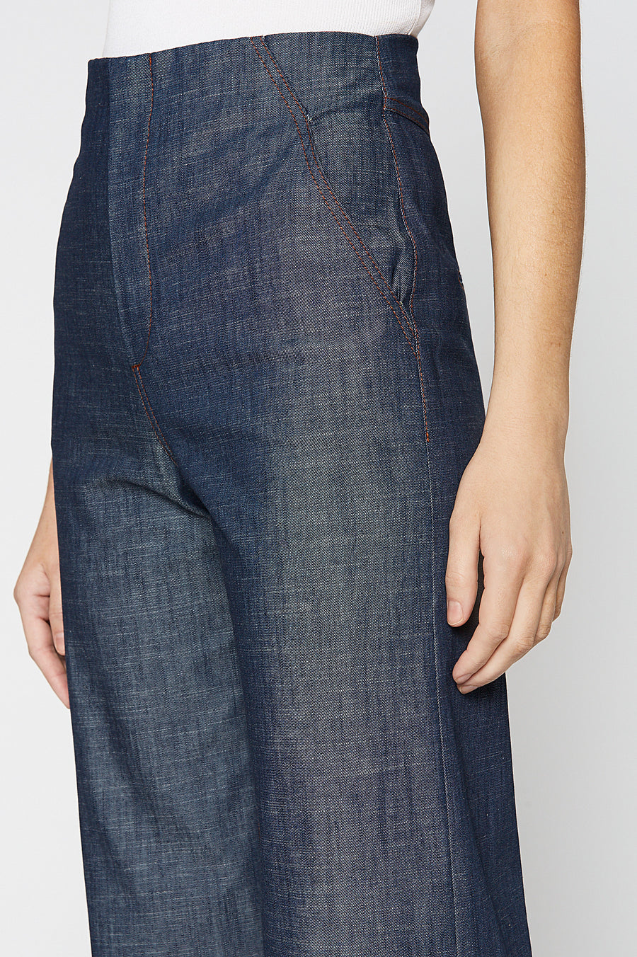 8 Ounce Denim Cropped Jean, flared silhouette, Designed to sit high on the waist, fall just above the ankle, Color Indigo Blue
