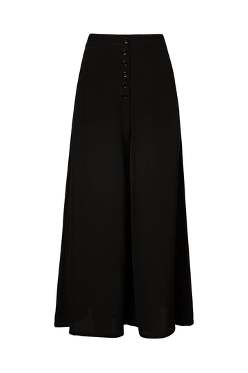 CDC BUTTON TROUSER, high waist, wide leg, falls above ankle, BLACK color