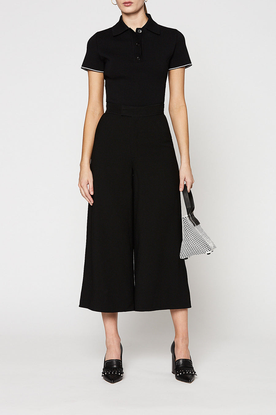 CREPE CULOTTE, high waist, falls above ankle, BLACK color