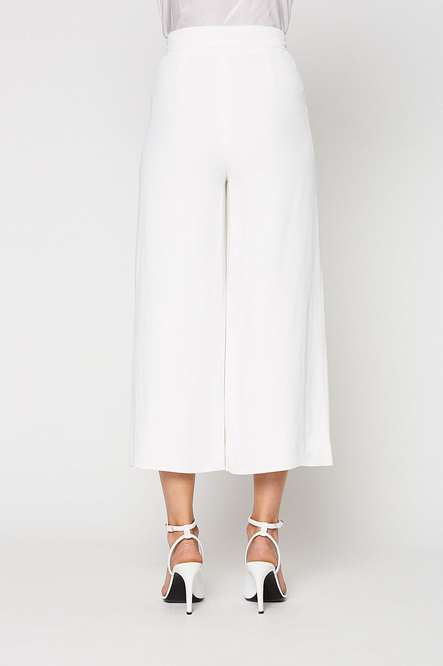 CREPE CULOTTE, wide leg, high waist, cropped above ankle, WHITE color