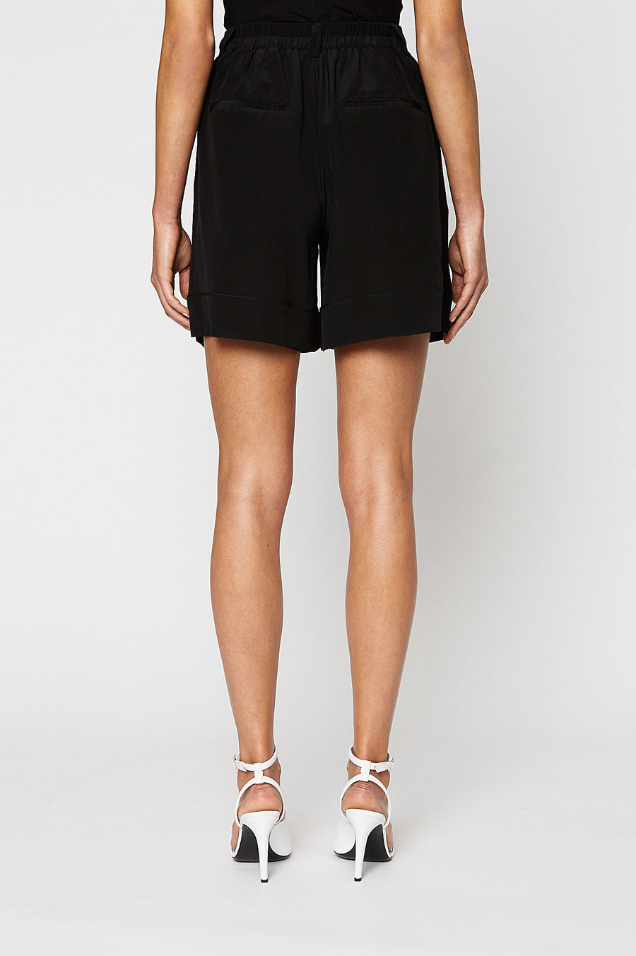 CDC SHORT, High Waist, Mid Calf, BLACK color