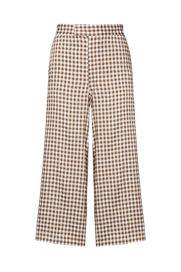 GINGHAM CULOTTE, CAMEL color