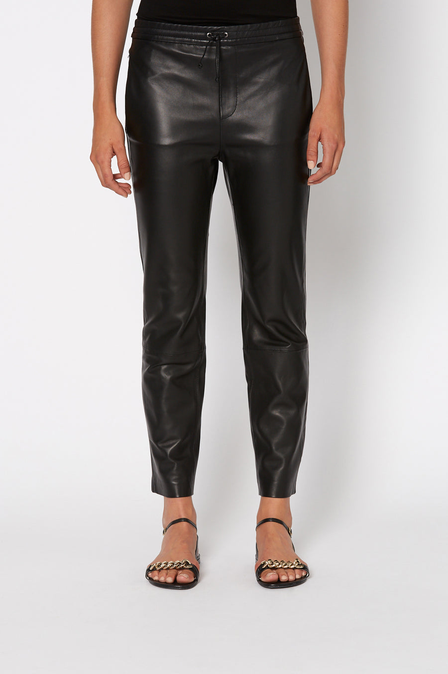 LEATHER JOGGER, BLACK color