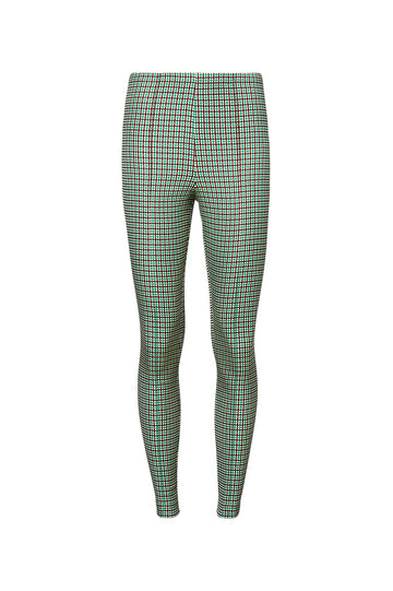 MINI PLAID PINTUCK LEGGING, GREEN color