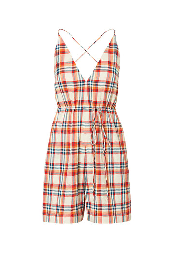MADRAS CHECK JUMPSUIT, RED MARINE color