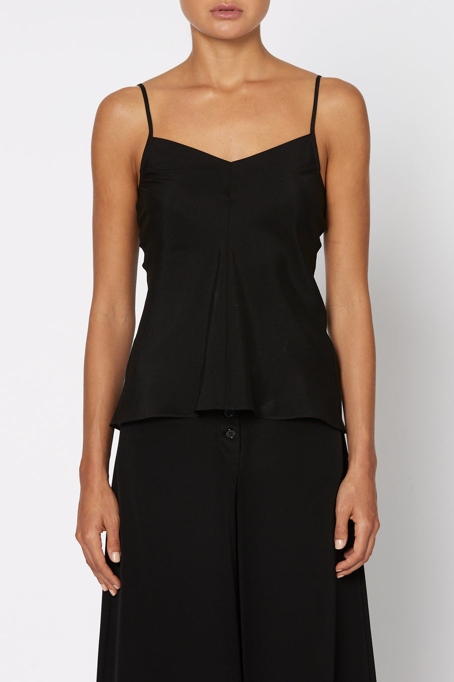 Silk V-Neck Camisole, centre seams, cut on the bias, Color Black