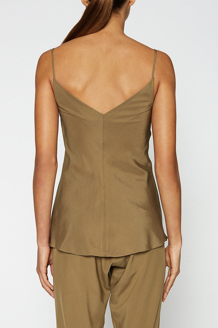 Silk V-Neck Camisole, centre seams, cut on the bias, Color Jungle