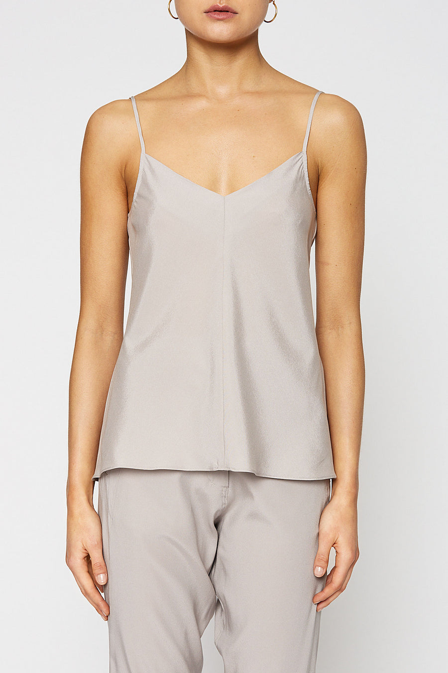 Silk V-Neck Camisole, centre seams, cut on the bias, Color Oyster