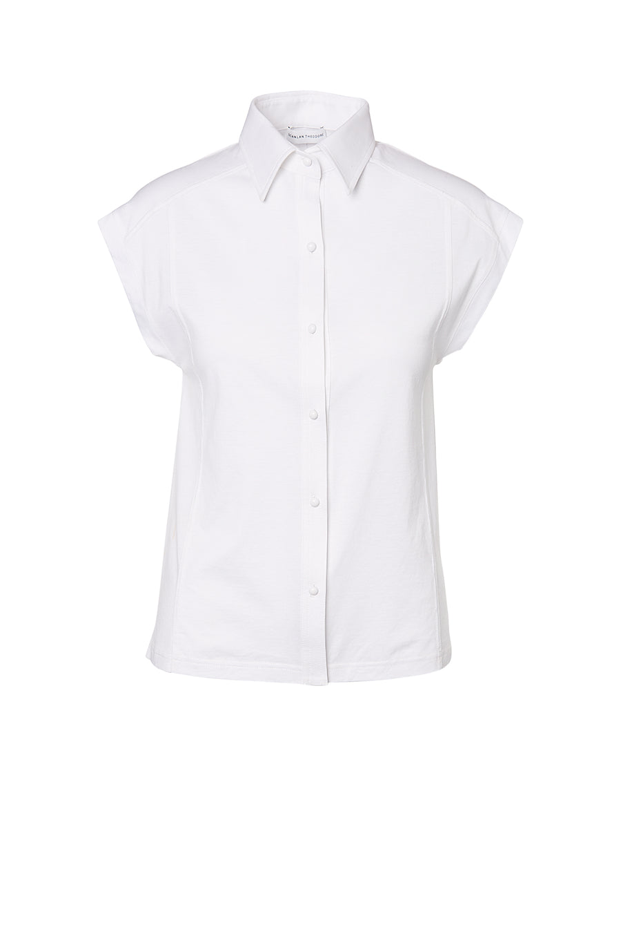 MERCERISED SHIRT, Collar, button down, short sleeve, WHITE color