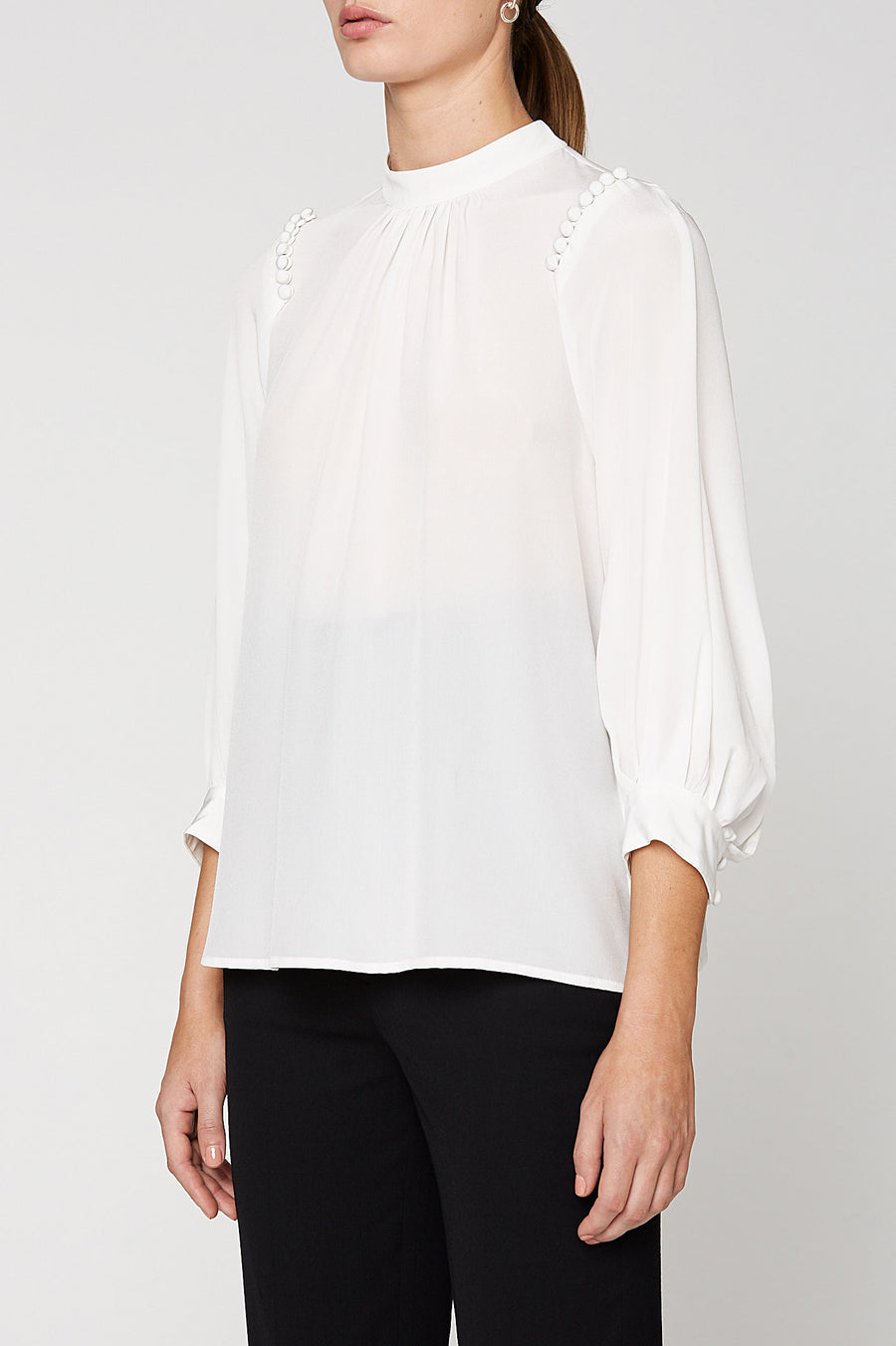 CDC BUTTON SHLDR BLOUSE