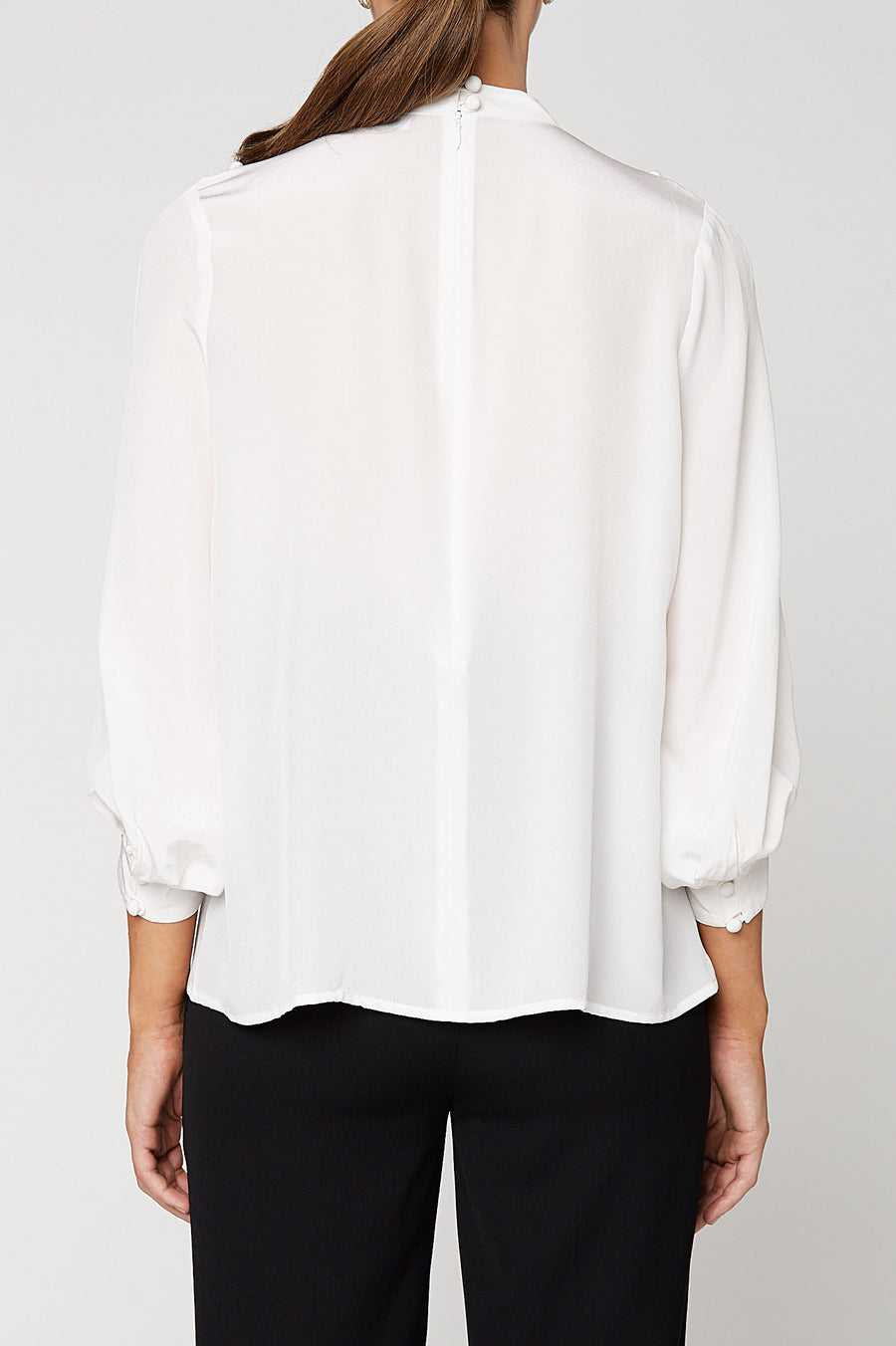 CDC Button SHOULDER BLOUSE, Silk Crepe De Chine, 3/4 sleeve, Color Optical White