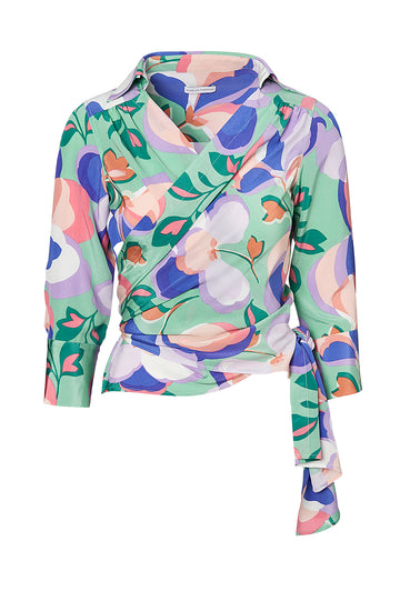 CDC PRINTED BLOUSE, PALE GREEN color