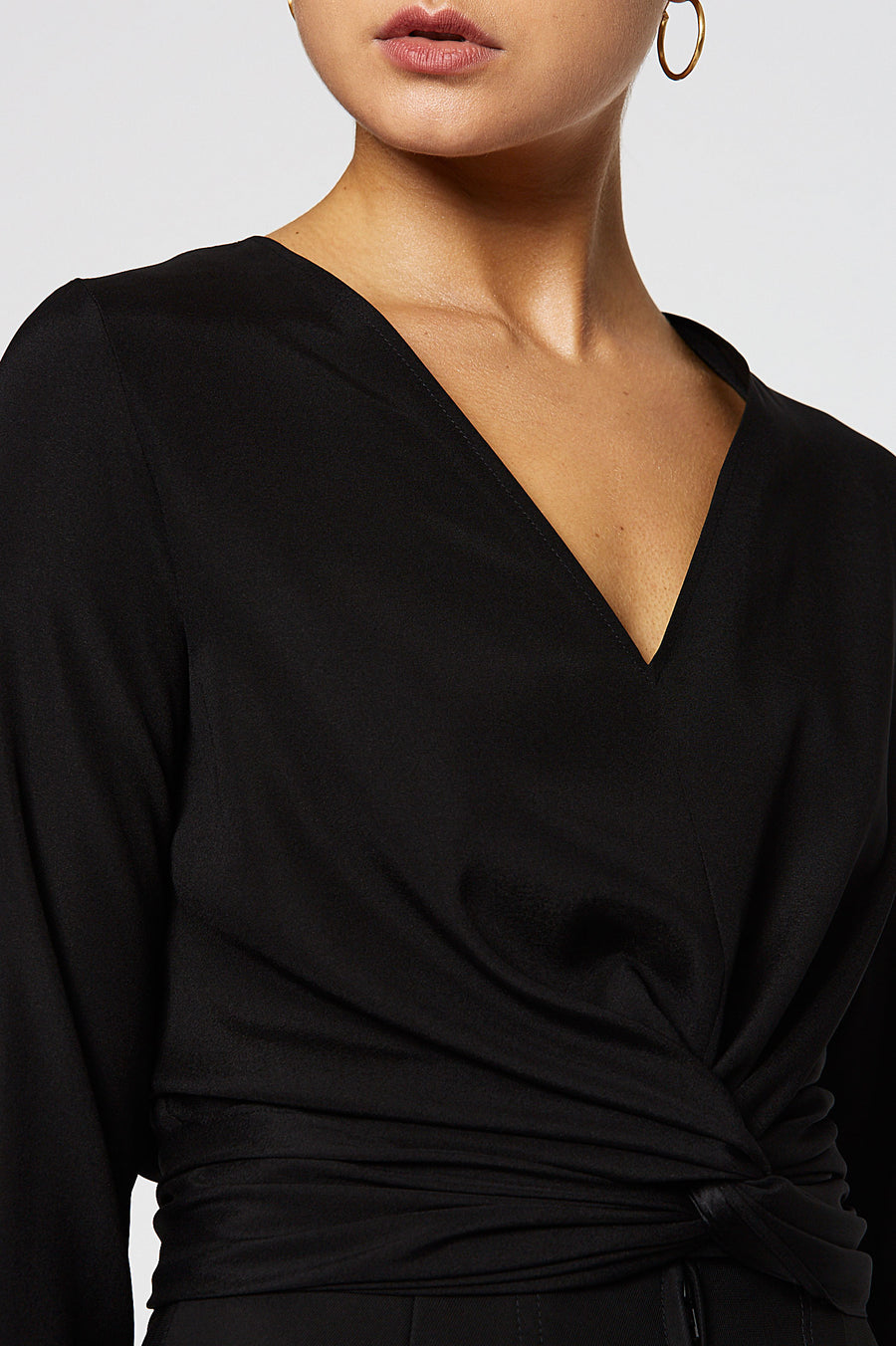 Silk Turban Twist Blouse, cut on the bias, soft drape, v-neck style, long sleeves, front twist detail on waist, color Black