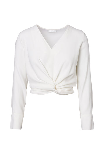 SILK TURBAN TWIST BLOUSE, V-Neck, Long Sleeve, knotted at front, tie at back, OPTICAL WHITE color