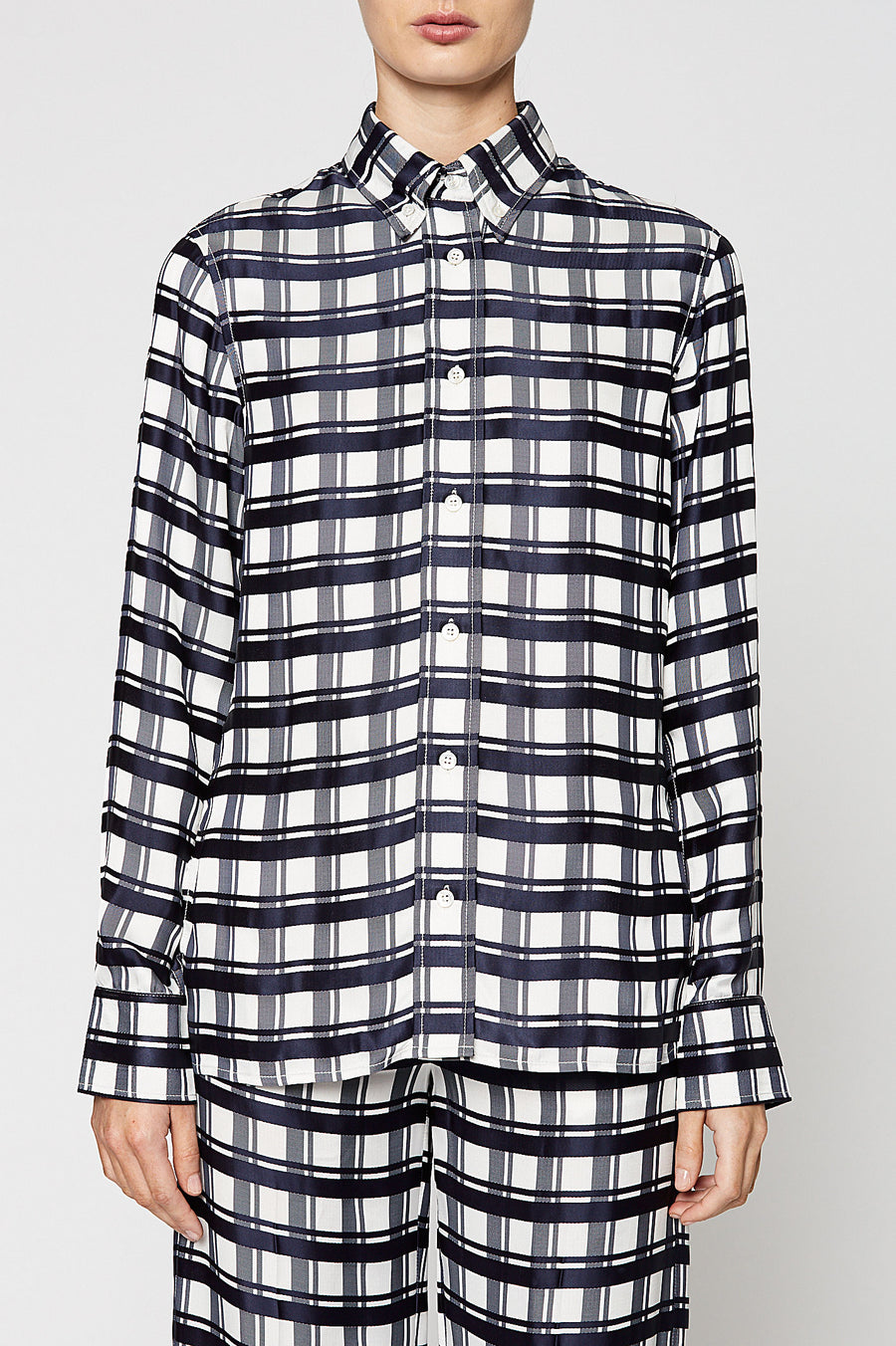 CHECK SHIRT, NAVY color