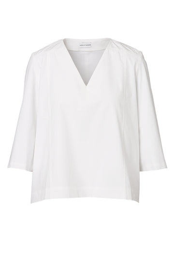 TAILORED COTTON TOP, V-Neck, 3/4 Sleeve, Oversize fit, WHITE color