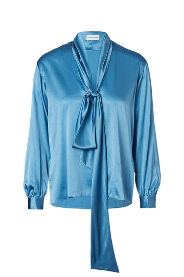 SILK SATIN TIE NECK BLOUSE, BLUE color