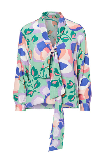 CDC PRINTED TIE NECK BLOUSE, PALE GREEN color