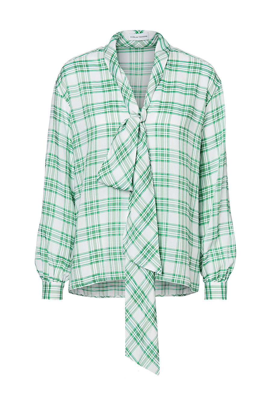 PLAID TIE NECK BLOUSE, EMERALD color