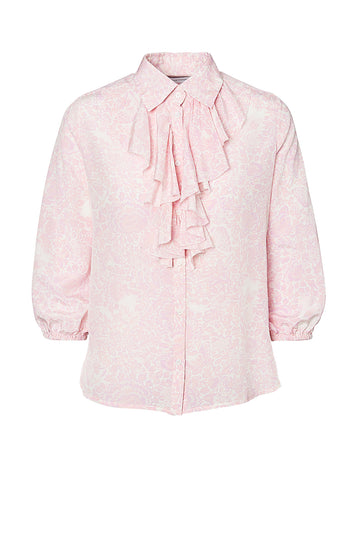 CDC FLORAL RUFFLE BLOUSE, 3/4 Sleeve Length, Ruffle feature down centre button seam, PALE PINK color