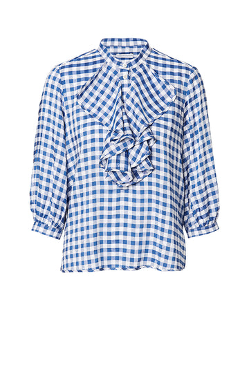 GINGHAM RUFFLE BLOUSE
