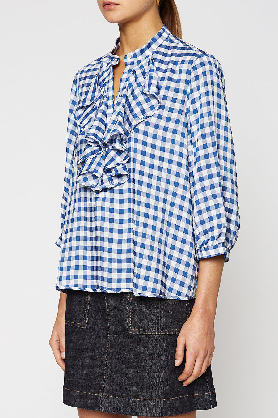 GINGHAM RUFFLE BLOUSE, BLUE color