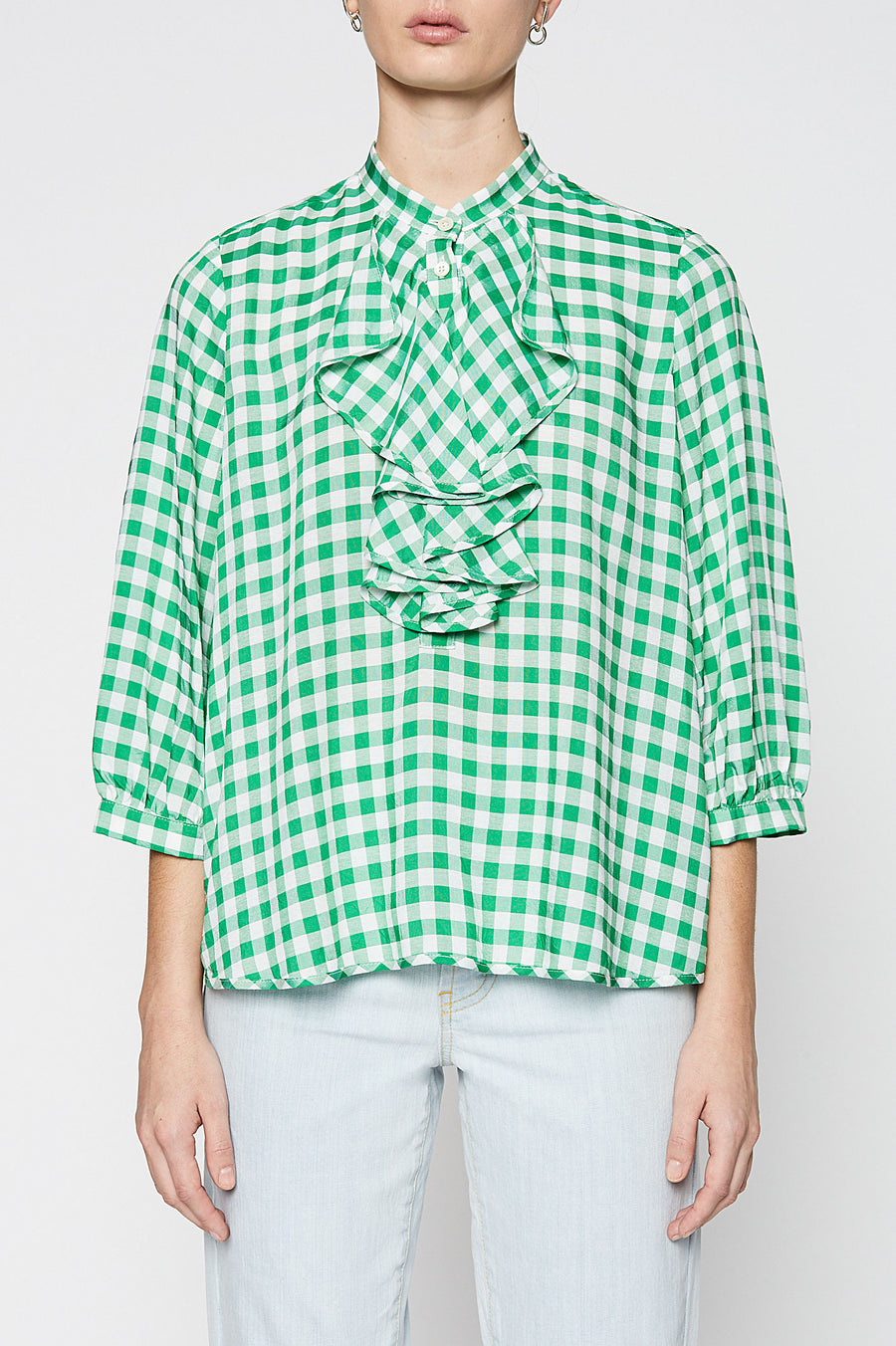 GINGHAM RUFFLE BLOUSE, EMERALD color