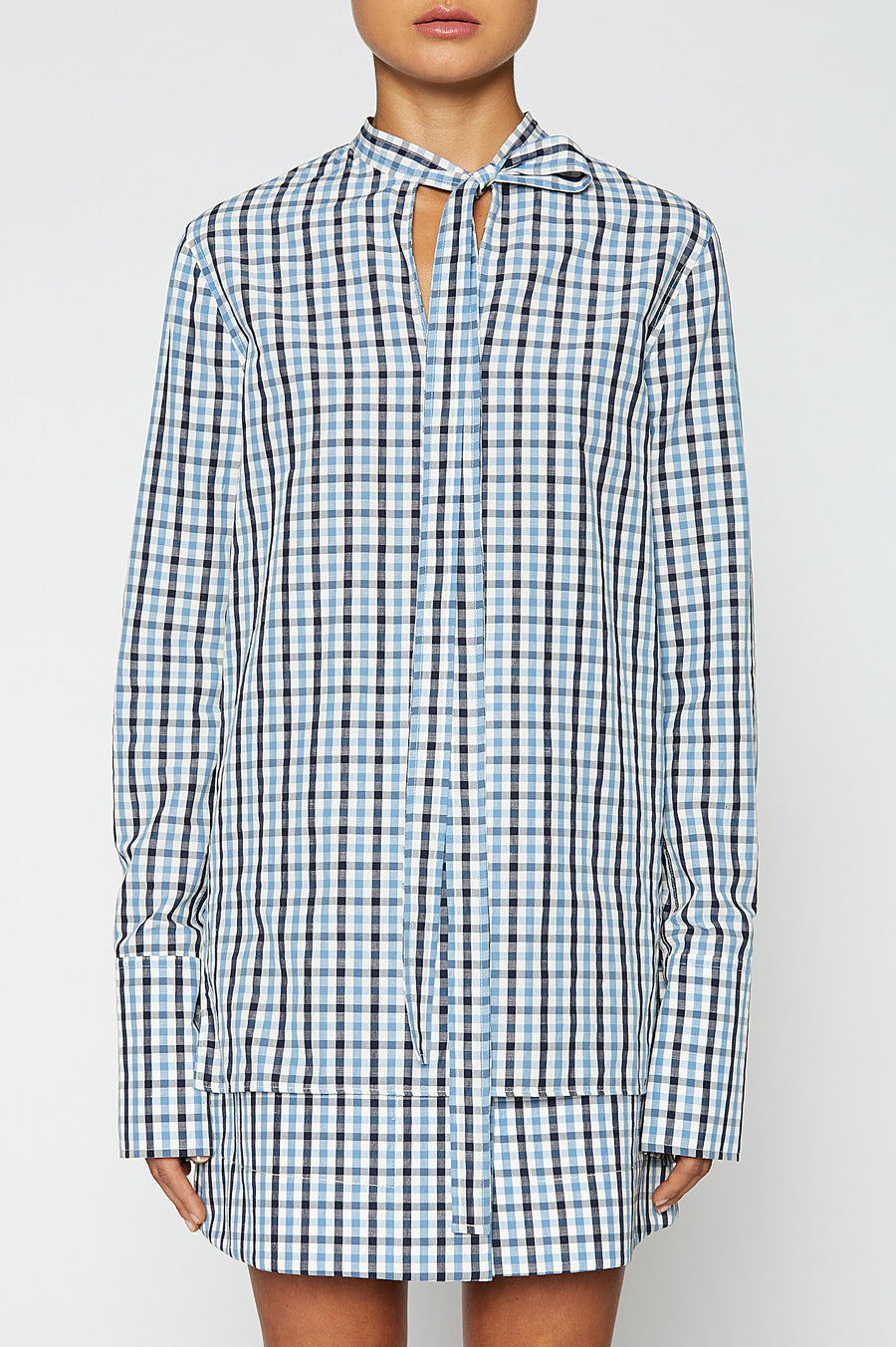 GINGHAM TIE NECK SHIRT, BLUE color