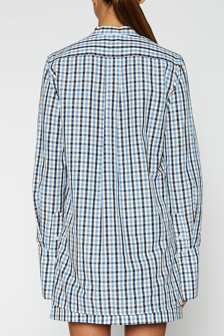 GINGHAM TIE NECK SHIRT