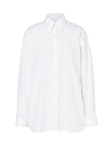 BUTTON COLLAR SHIRT, LONG SLEEVE, OVERSIZED, WHITE color