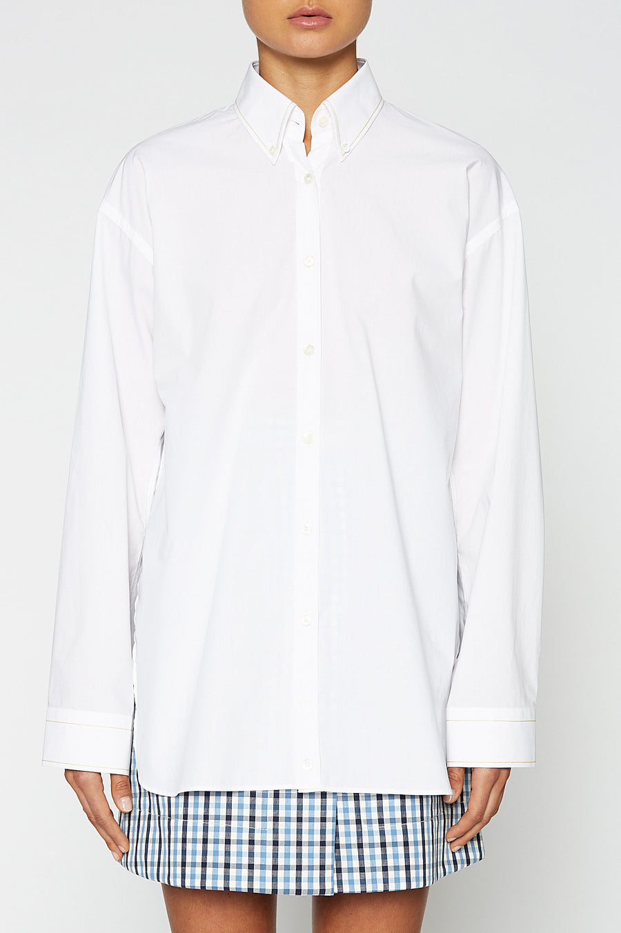 BUTTON COLLAR SHIRT, LONG SLEEVE, OVERSIZED, WHITE, YELLOW STITCHING color