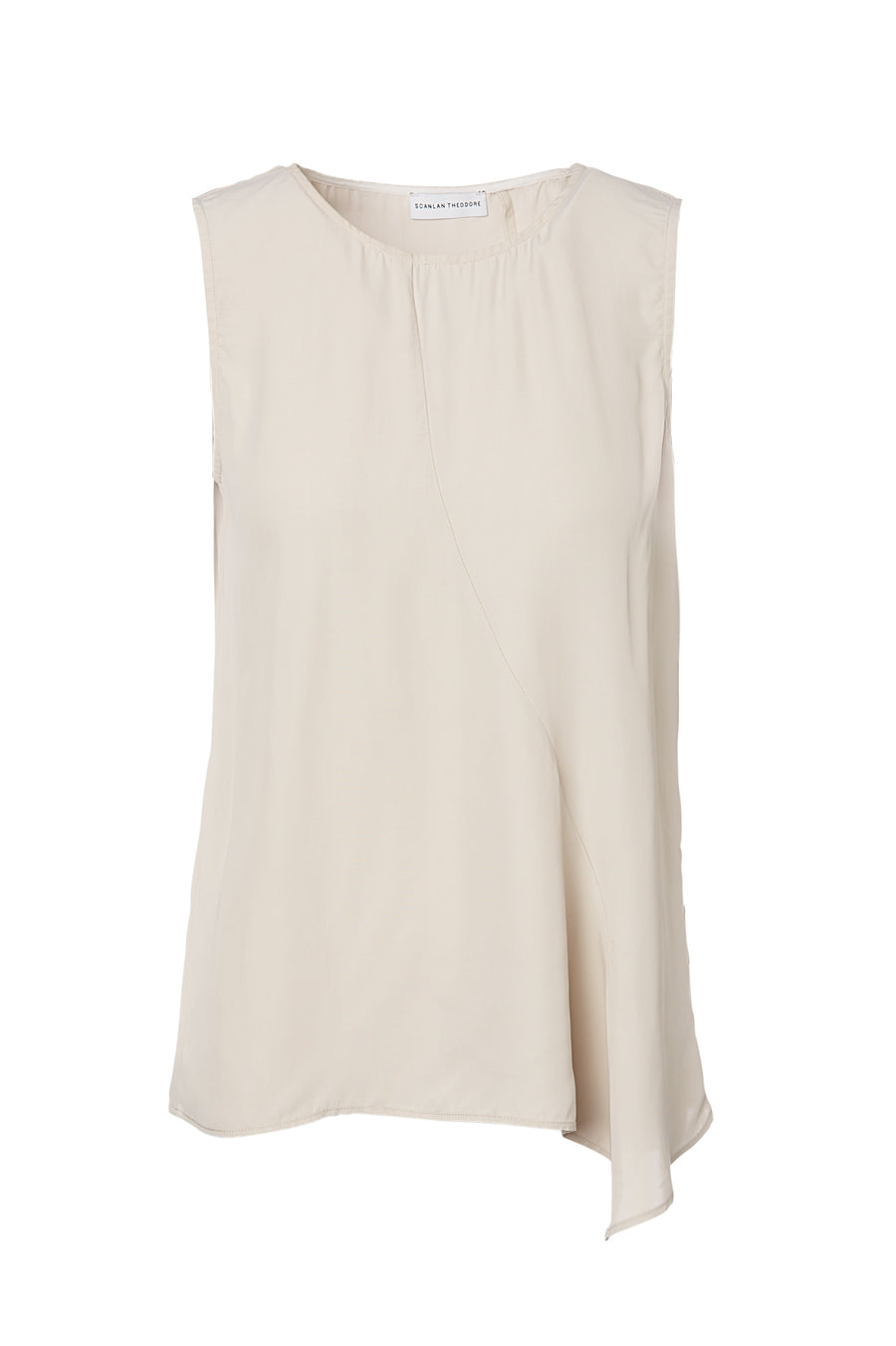 POWDERED VISCOSE TOP, front drape, short sleeve, crew neck, WHITE Frappe