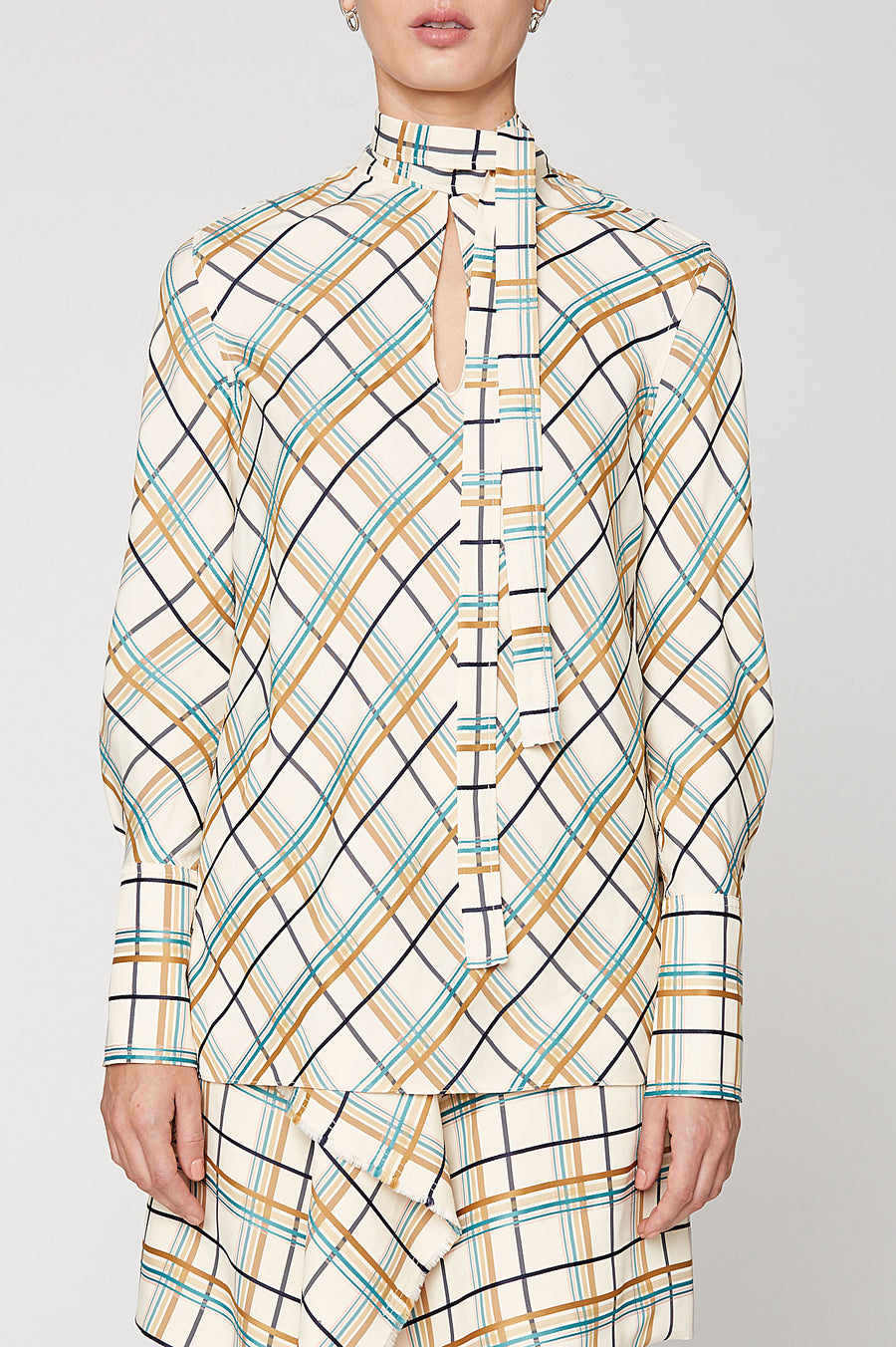 MULTI PLAID TIE NECK TOP