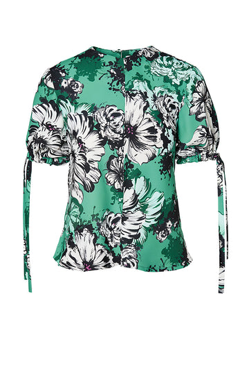 WINDY PRINT TOP, green floral color