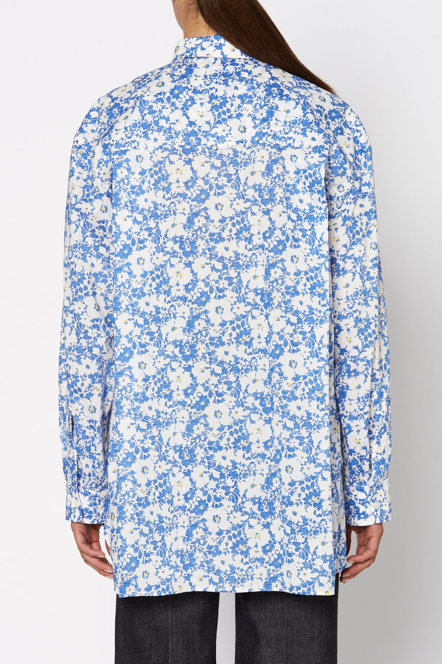 FLORAL BUTTON DOWN SHIRT, BLUE color