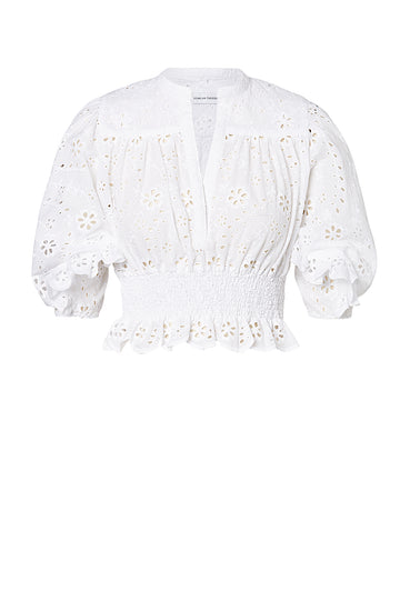 EMBROIDERY RUFFLE TOP WHITE, WHITE color