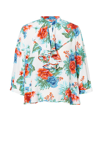 CDC MYSTIC FLORAL RUFFLE BLOUSE, BLUE color