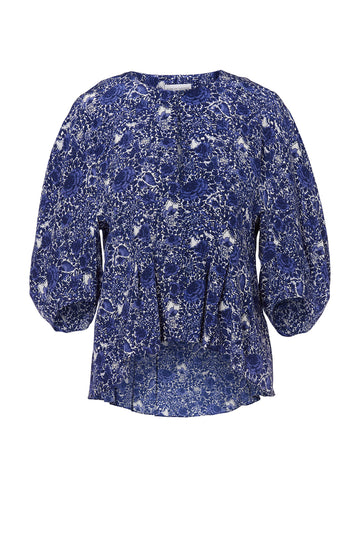 CDC FLORAL COCOON SLEEVE BLOUSE, V NECK, COCOON SHAPED SLEEVES Color Cobalt