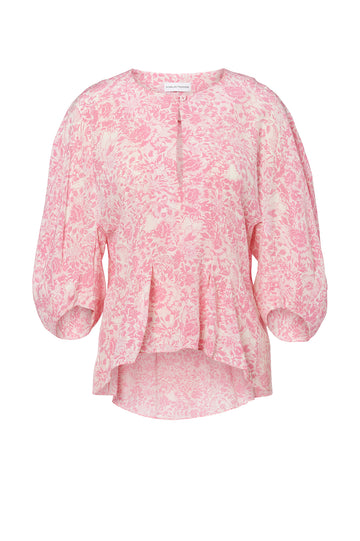 CDC FLORAL COCOON SLEEVE BLOUSE, V NECK, COCOON SHAPED SLEEVES Color Pink
