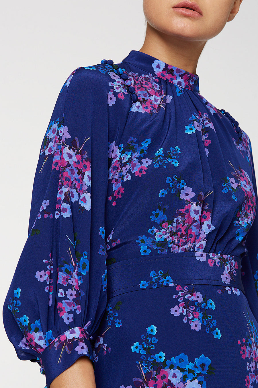 CDC Printed Button Shoulder Dress, high neck, detailed shoulders, cinches in the waist, 100% Silk, Color Blue