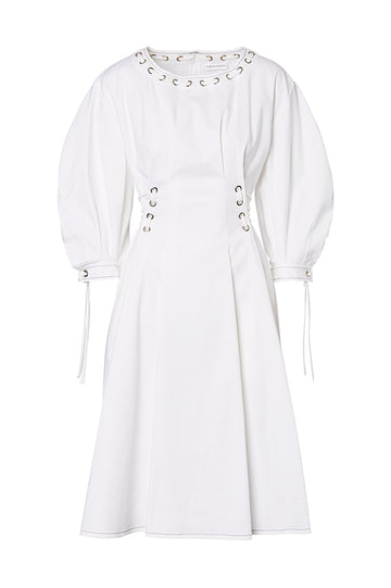EYELET COTTON DRESS, WHITE color