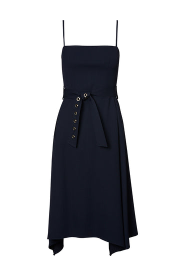 VISCOSE EYELET DRESS, NAVY color