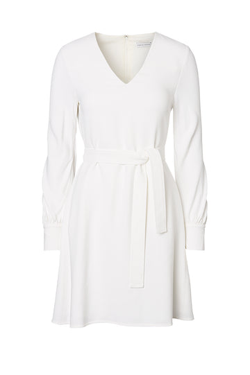 CREPE DRESS, WHITE color