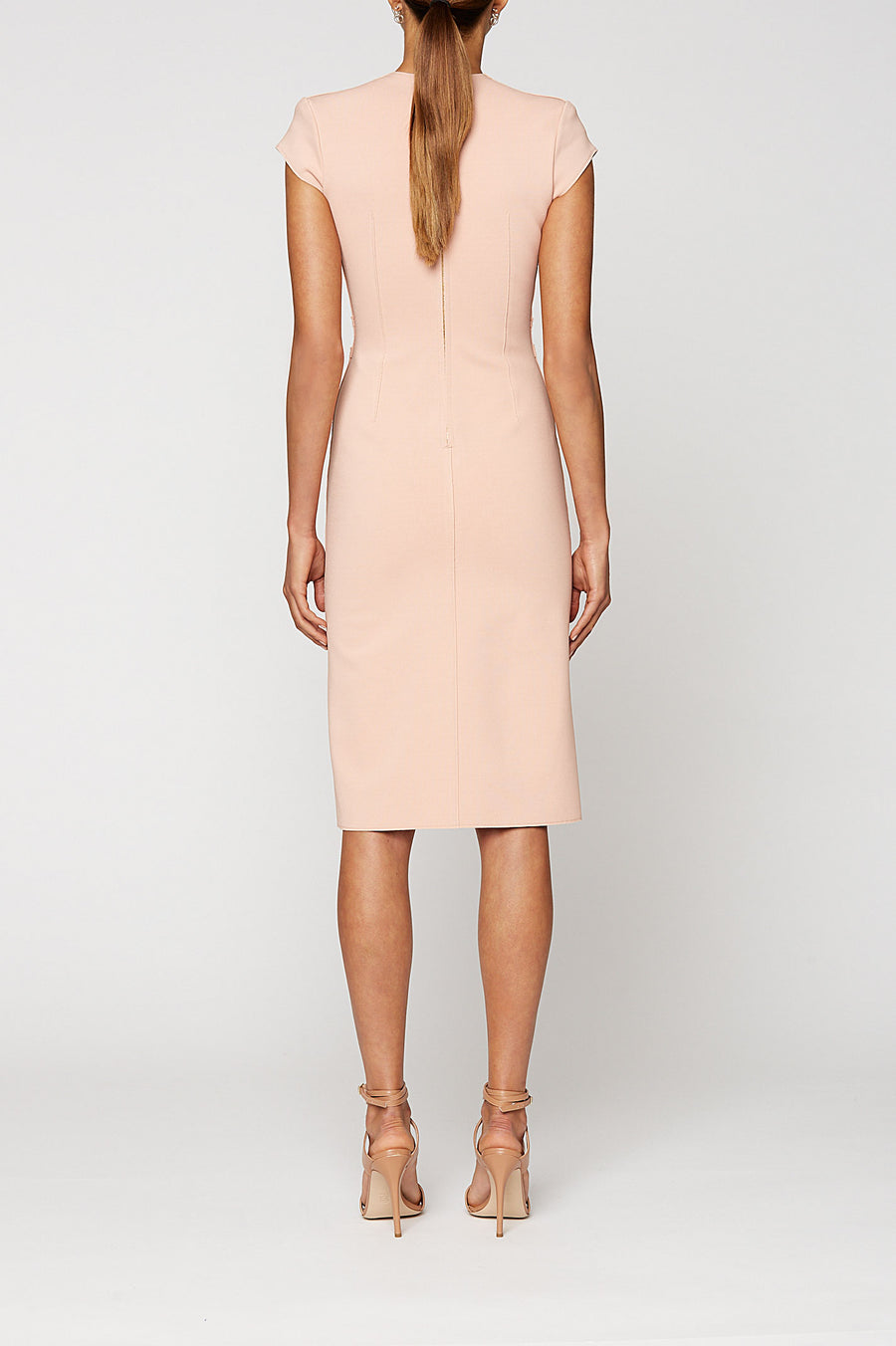 MILANO CREPE TURBAN DRESS, V-NECK, FALLS JUST BELOW KNEE, SHOULDER PADS, KNOT AT FRONT, DUSTY ROSE color